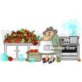Clipart of a Happy Chubby Woman Canning Fruit - Royalty Free Illustration © djart #1216927