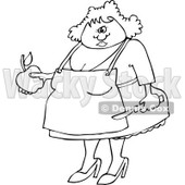Clipart of an Outlined Chubby Woman Holding an Apple and a Peeling Knife - Royalty Free Vector Illustration © djart #1217102