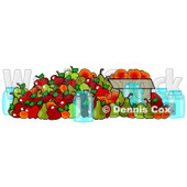 Clipart of Canning Jars and a Pile of Fall Harvest Fruits - Royalty Free Illustration © djart #1217103