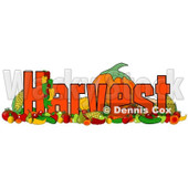 Clipart of Produce and the Word Harvest - Royalty Free Illustration © djart #1217104