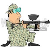 Clipart of a Kneeling Paintball Man in Camouflage - Royalty Free Illustration © Dennis Cox #1217577