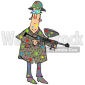 Clipart of a Paintball Man Covered in Colorful Splats - Royalty Free Illustration © djart #1217579