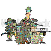 Clipart of a Paintball Team Covered in Colorful Splats - Royalty Free Illustration © Dennis Cox #1217768