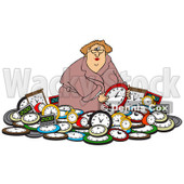 Clipart of a White Woman in a Pile of Clocks - Royalty Free Vector Illustration © djart #1218188