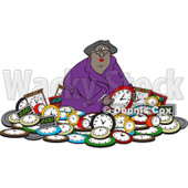 Clipart of a Black Woman in a Pile of Clocks - Royalty Free Vector Illustration © djart #1218189