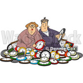 Clipart of a Couple in a Pile of Clocks - Royalty Free Vector Illustration © djart #1218190