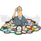 Clipart of a Confused White Man in a Pile of Clocks - Royalty Free Vector Illustration © djart #1218191