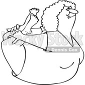 Clipart of an Outlined Flexible Woman in a Rock Belly Stretch Pose - Royalty Free Vector Illustration © djart #1219035