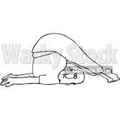 Clipart of an Outlined Man Stretching with His Feet over His Head - Royalty Free Vector Illustration © djart #1219039