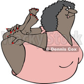 Clipart of a Flexible Black Woman in a Rock Belly Stretch Pose - Royalty Free Vector Illustration © djart #1219040