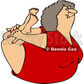 Clipart of a Flexible White Woman in a Rock Belly Stretch Pose - Royalty Free Vector Illustration © djart #1219041