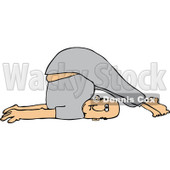 Clipart of a White Man Stretching with His Feet over His Head - Royalty Free Vector Illustration © djart #1219042