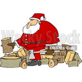Clipart of Santa Splitting Wood - Royalty Free Vector Illustration © djart #1219044