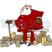 Clipart of Santa Chopping Wood - Royalty Free Vector Illustration © djart #1219045