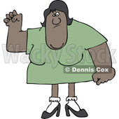 Clipart of a Tough Black Woman with Lots of Upper Body Strength - Royalty Free Vector Illustration © djart #1219048