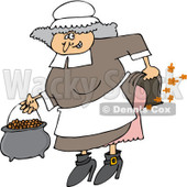 Clipart of a Female Pilgrim Farting - Royalty Free Vector Illustration © Dennis Cox #1219050