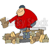 Clipart of a Logger Lumberjack Man with Logs - Royalty Free Vector Illustration © djart #1219052
