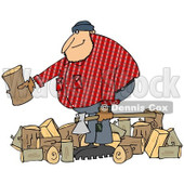 Clipart of a Logger Lumberjack Man with Logs and an Axe - Royalty Free Illustration © djart #1219053