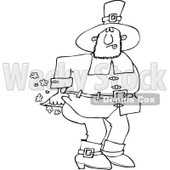Clipart of an Outlined Male Pilgrim Farting - Royalty Free Vector Illustration © djart #1219754
