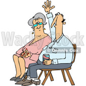 Clipart of a Man with a Question Sitting by a Lady and Raising His Hand - Royalty Free Vector Illustration © djart #1220847