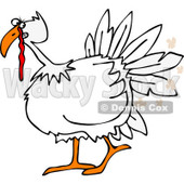 Clipart of a White Turkey Bird Farting - Royalty Free Vector Illustration © djart #1220850