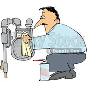 Clipart of a Caucasian Man Crouching and Cleaning a Gas Meter - Royalty Free Vector Illustration © djart #1221469