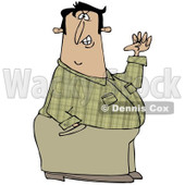 Clipart of a Half Defiant Man with One Hand in His Pocket and the Other in a Fist - Royalty Free Illustration © djart #1221472