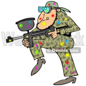Clipart of a Paintball Man in Camouflage, Covered in Colorful Splats - Royalty Free Illustration © Dennis Cox #1221473