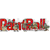 Clipart of a Paintball Team and Text - Royalty Free Illustration © Dennis Cox #1221476
