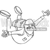 Clipart of a Nervous Guy Falling While Sky Diving - Royalty Free Vector Illustration © djart #1222714