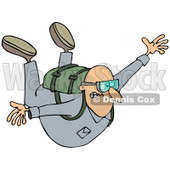 Clipart of a Nervous Man Falling While Sky Diving - Royalty Free Illustration © djart #1222717