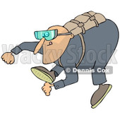 Clipart of a Man Falling While Sky Diving - Royalty Free Illustration © djart #1222718