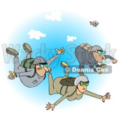 Clipart of a Woman and Men Falling While Sky Diving over Blue Sky - Royalty Free Illustration © Dennis Cox #1222719