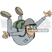 Clipart of a Man Holding His Arms Out While Sky Diving - Royalty Free Illustration © djart #1222721