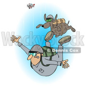 Clipart of a Man and Dog Skydiving with the Plane in the Background - Royalty Free Illustration © Dennis Cox #1222948
