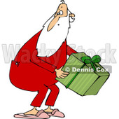 Clipart of Santa Wearing Pjs and Picking up a Gift - Royalty Free Vector Illustration © Dennis Cox #1223248