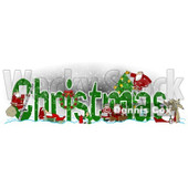 Clipart of Green Christmas Text with Satnas Reindeer and Mrs Claus - Royalty Free Illustration © djart #1223249