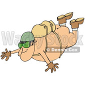 Clipart of a Nude Man Falling While Sky Diving - Royalty Free Illustration © Dennis Cox #1223250