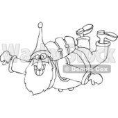 Clipart of an Outlined Santa Free Falling While Skydiving - Royalty Free Vector Illustration © djart #1223670