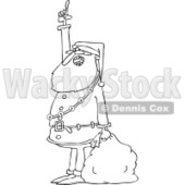 Clipart of an Outlined Santa Holding a Sack, Talking and Pointing up - Royalty Free Vector Illustration © djart #1223673