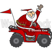 Clipart of Santa Waving and Driving an Atv Mud Bug - Royalty Free Vector Illustration © djart #1223676