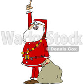 Clipart of Santa Holding a Sack, Talking and Pointing up - Royalty Free Vector Illustration © djart #1223681