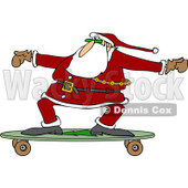 Clipart of Santa Skateboarding on a Longboard - Royalty Free Vector Illustration © Dennis Cox #1223683