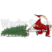 Clipart of Santa Pulling a Fresh Cut Christmas Tre on a Sled - Royalty Free Illustration © djart #1223684