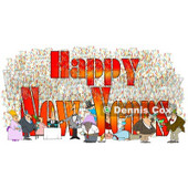 Clipart of People Having Fun at a Party with Happy New Years Text - Royalty Free Illustration © Dennis Cox #1223829