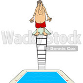 Clipart of a Man Standing at the Top of a High Dive Diving Board - Royalty Free Vector Illustration © Dennis Cox #1223830