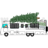 Clipart of a Man Driving a Class a Motorhome with a Christmas Tree on Top - Royalty Free Illustration © djart #1223831