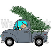 Clipart of a Man Driving a Pickup Truck with a Christmas Tree on Top - Royalty Free Illustration © Dennis Cox #1223832