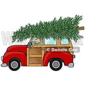 Clipart of a Man Driving a Red Woody Car with a Christmas Tree on the Roof - Royalty Free Illustration © Dennis Cox #1223833