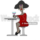Clipart of a Black Lady Drinking a Cocktail at a Table - Royalty Free Illustration © Dennis Cox #1224156
